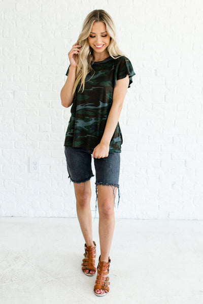 Green Camo Women's Casual and Comfortable Boutique Tops