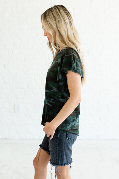 Green Camo High-Low Hem Boutique Tops for Women