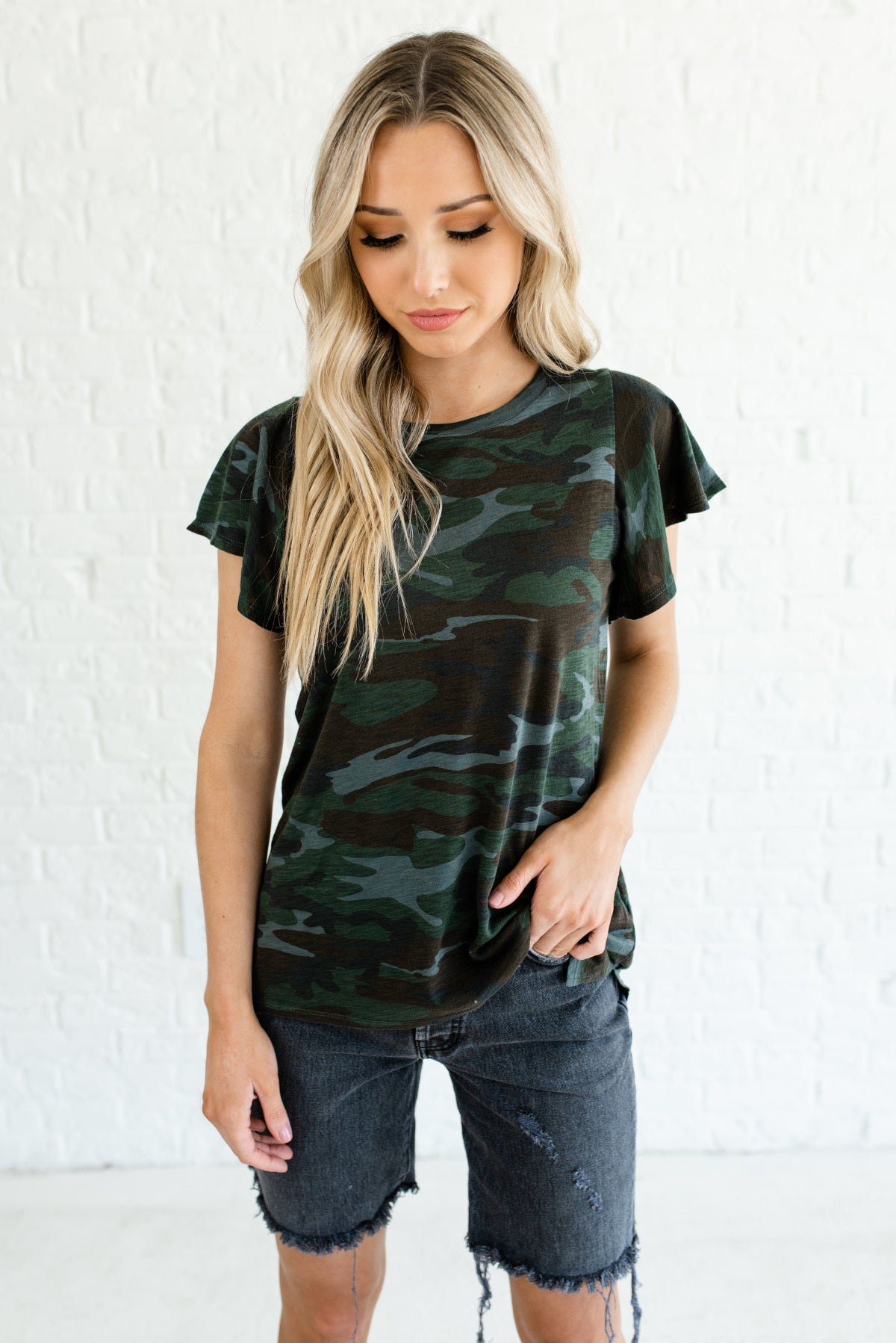 Green, Brown, and Gray Camo Print Boutique Tops for Women
