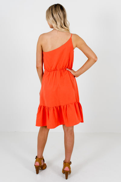 Coral Orange Cute Ruffle Mini Dresses with Asymmetrical Hem