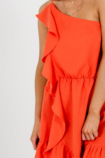 Coral Orange Asymmetrical Ruffle Mini Dresses Affordable Online Boutique