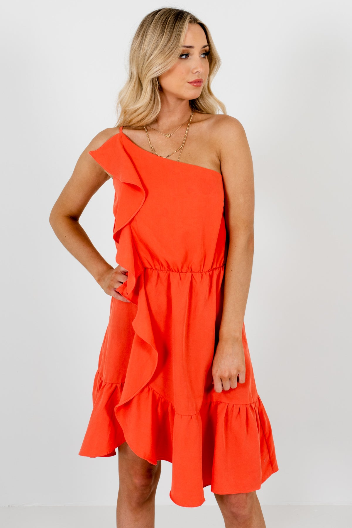 Coral Orange Ruffle Asymmetrical One Shoulder Mini Dresses for Women