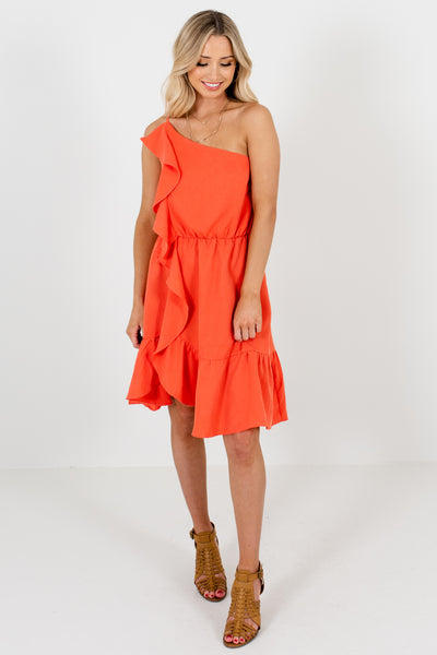 Coral Orange Ruffle One Shoulder Mini Dresses for Women