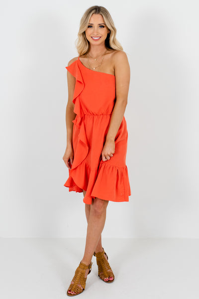 Coral Orange Ruffle Bodice Asymmetrical Mini Dresses for Women