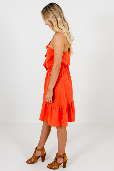 Coral Orange One Shoulder Mini Dresses Affordable Online Boutique