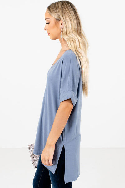 Blue Layering Boutique Tops for Women