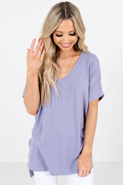 Women's Lavender Purple Side Hem Slit Boutique Tops