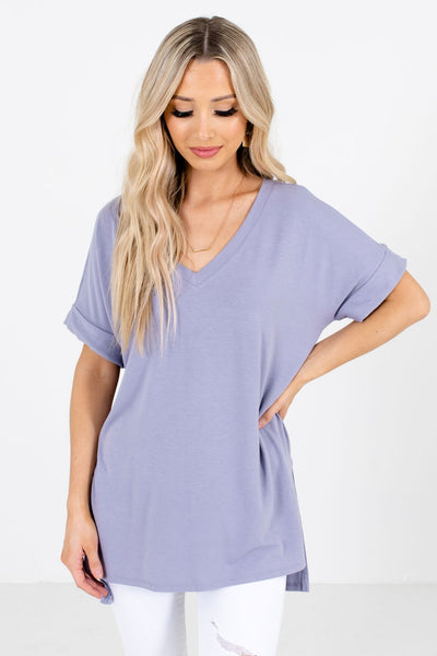 Women's Lavender Purple High-Low Hem Boutique Top