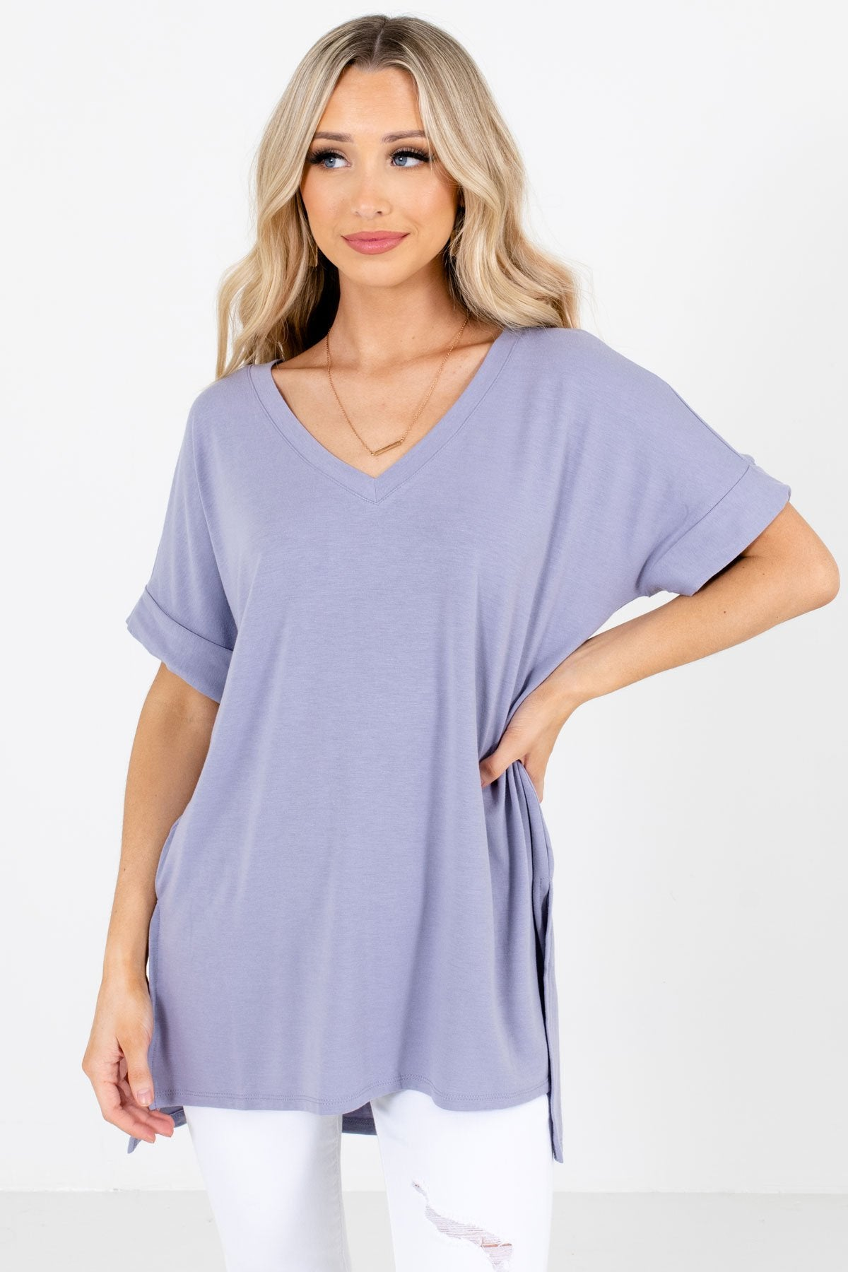 Lavender Purple V-Neckline Boutique Tops for Women