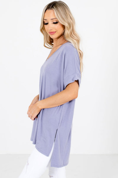 Lavender Purple Basic Layering Boutique Tops for Women