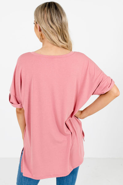 Women's Dusty Pink Cuffed Sleeve Boutique Tops