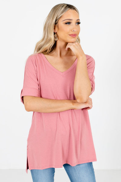 Dusty Pink Basic Layering Boutique Tops for Women