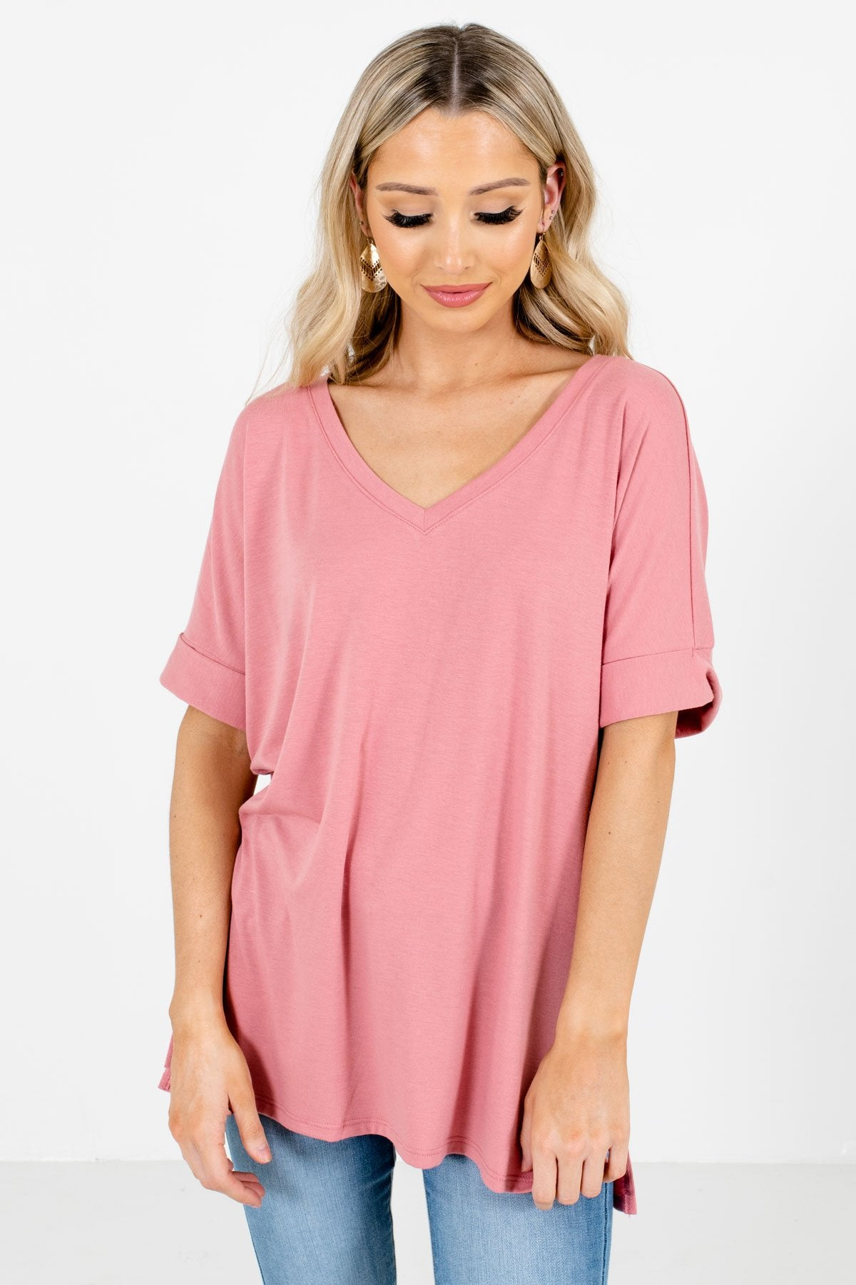 Dusty Pink V-Neckline Boutique Tops for Women