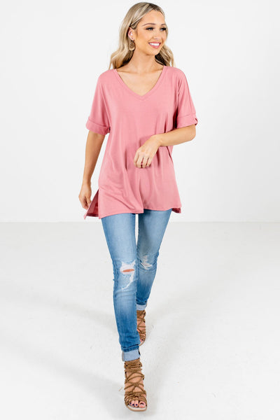 Women's Dusty Pink High-Low Hem Boutique Top