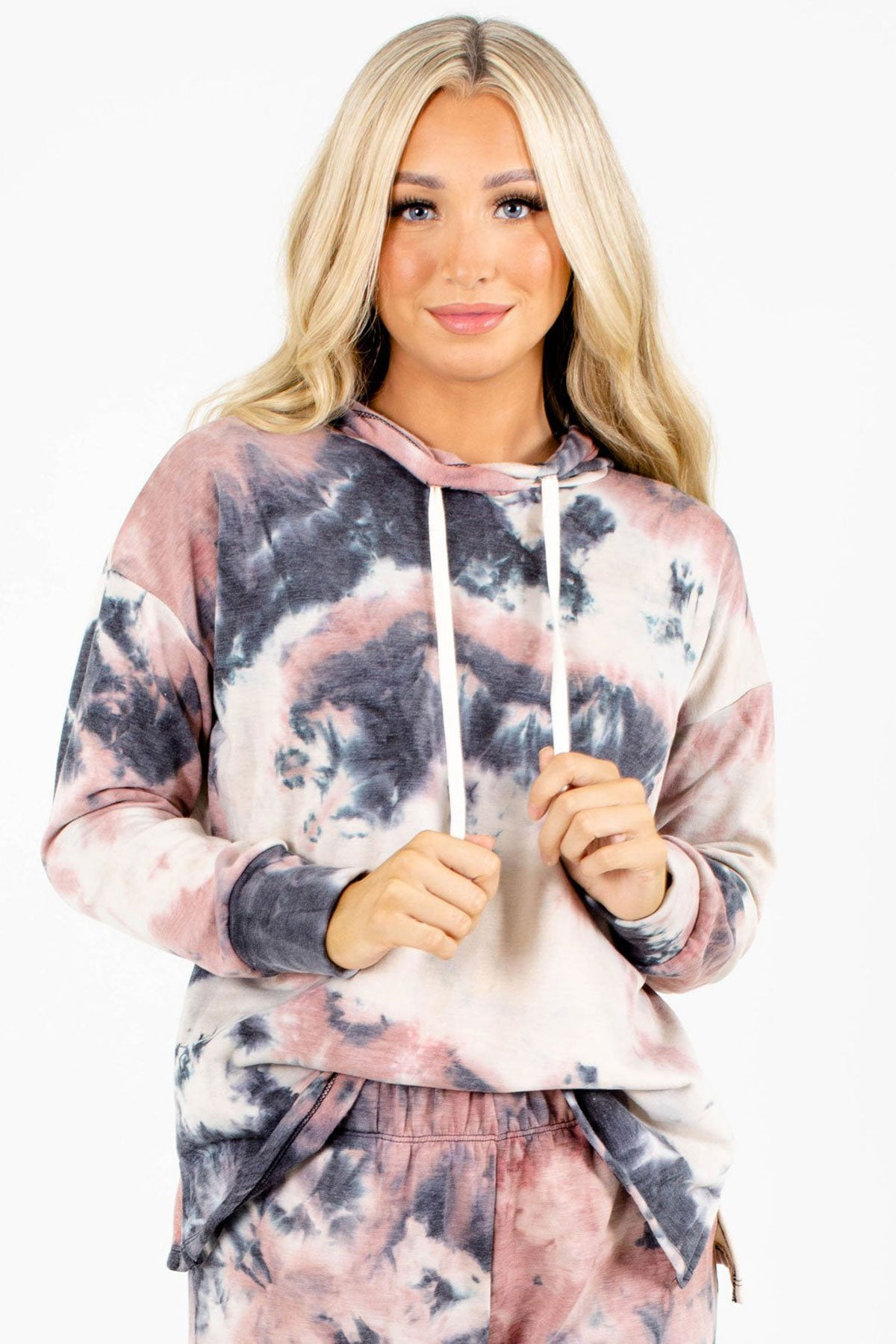 Pink and Blue Tie-Dye Print Boutique Hoodies for Women