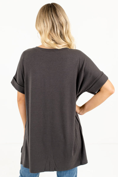 Women's Ash Gray High-Low Hem Boutique Tops