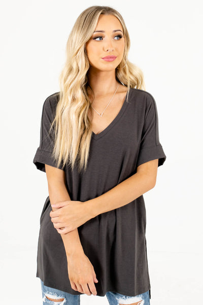 Women's Ash Gray Oversized Relaxed Fit Boutique Top
