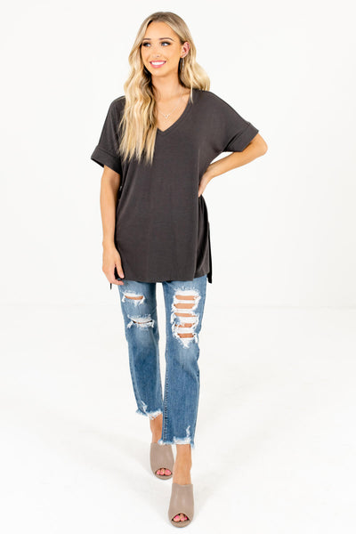 Ash Gray Lightweight Material Boutique Tops for Women