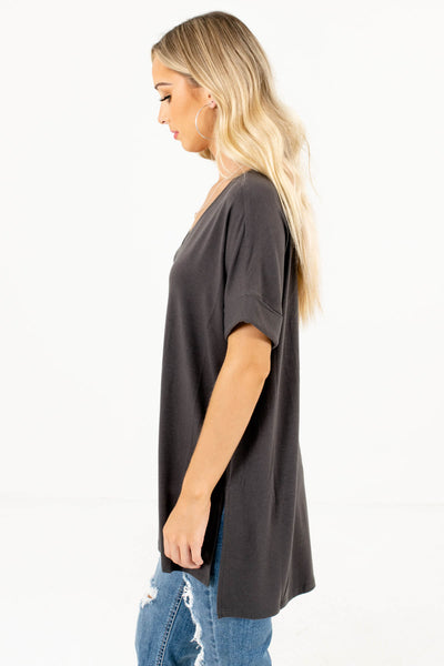 Ash Gray Layering Boutique Tops for Women