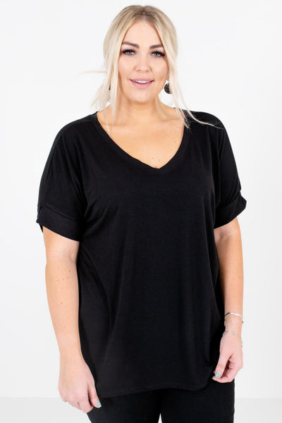 Black V-Neckline Boutique Tops for Women