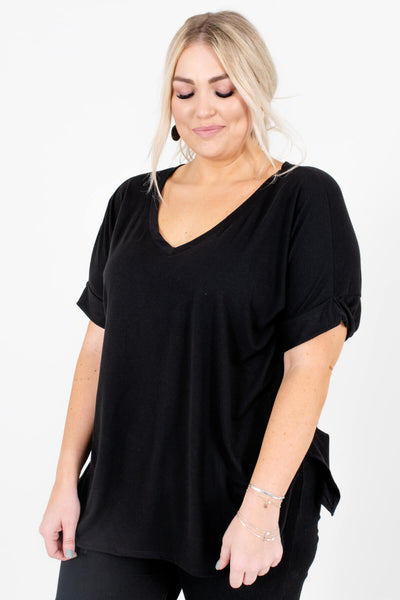 Women's Black Oversized Relaxed Fit Boutique Top