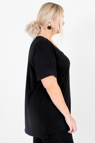 Black Layering Boutique Tops for Women