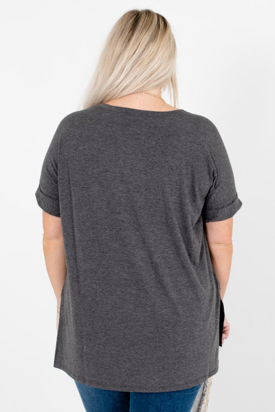 Women's Charcoal Gray High-Low Hem Boutique Tops