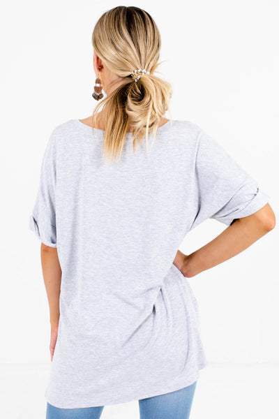 Women's Heather Gray High-Low Hem Boutique Tops