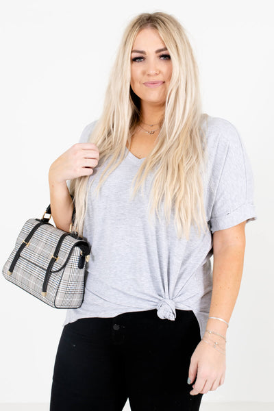 Heather Gray V-Neckline Boutique Tops for Women