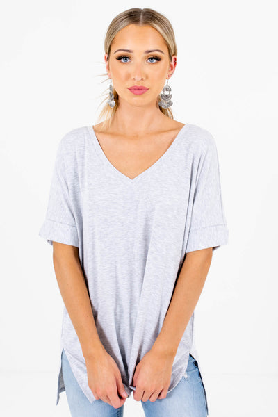 Heather Gray Lightweight Material Boutique Tops for Women