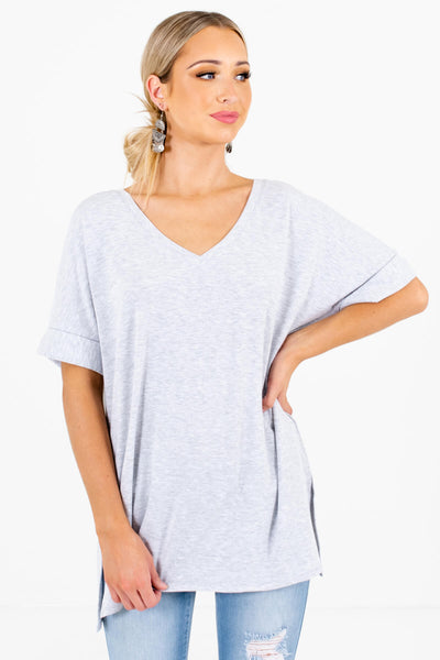 Women's Heather Gray Oversized Relaxed Fit Boutique Top