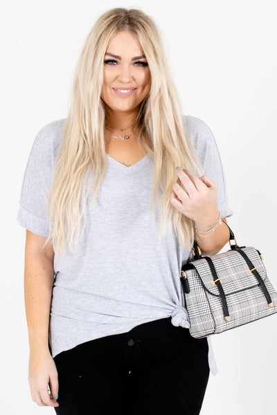 Heather Gray Cute and Comfortable Boutique Tops for Women