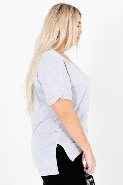 Heather Gray Layering Boutique Tops for Women