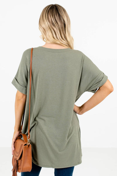 Women's Green Cuffed Sleeve Boutique Tops for Women