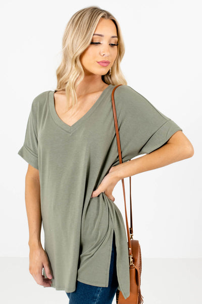 Women's Green Side Hem Slit Boutique Tops