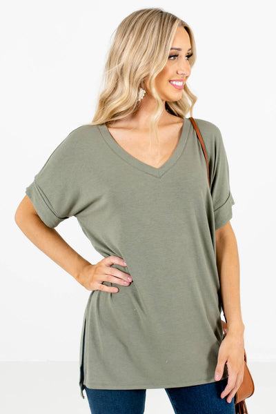 Women's Green High-Low Hem Boutique Top