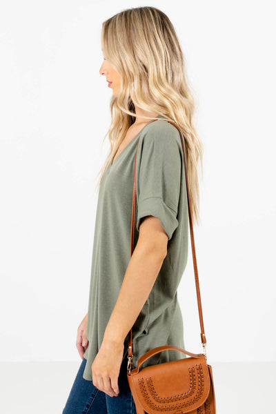 Green Basic Layering Boutique Tops for Women