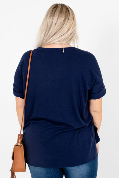 Women's Navy Blue High-Low Hem Boutique Tops