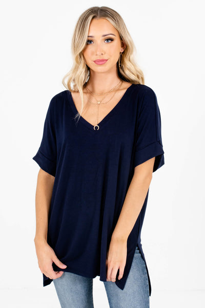 Navy Blue Cute and Comfortable Boutique Tops for Women