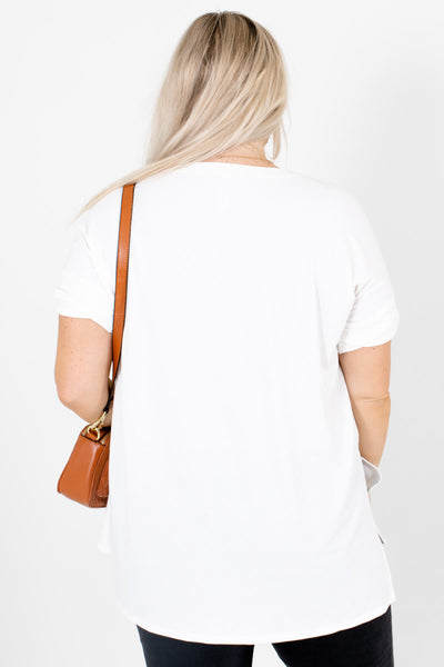 Women's White High-Low Hem Boutique Tops