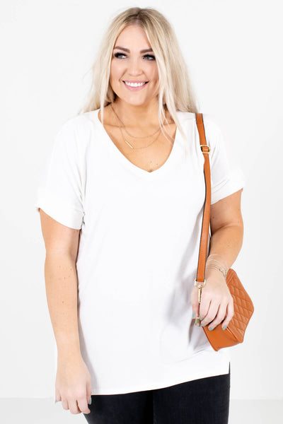 Women's White Oversized Relaxed Fit Boutique Top