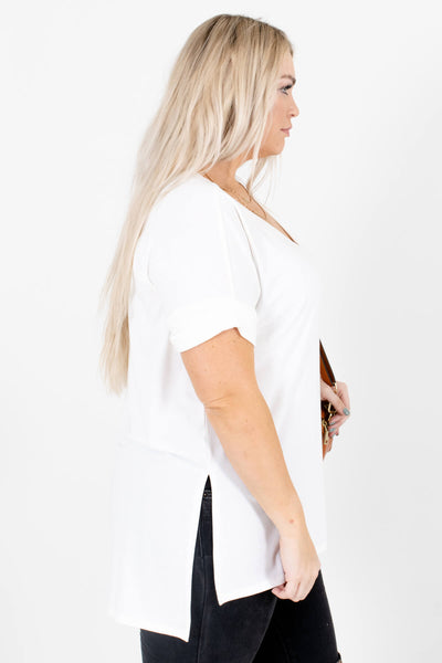 White Layering Boutique Tops for Women