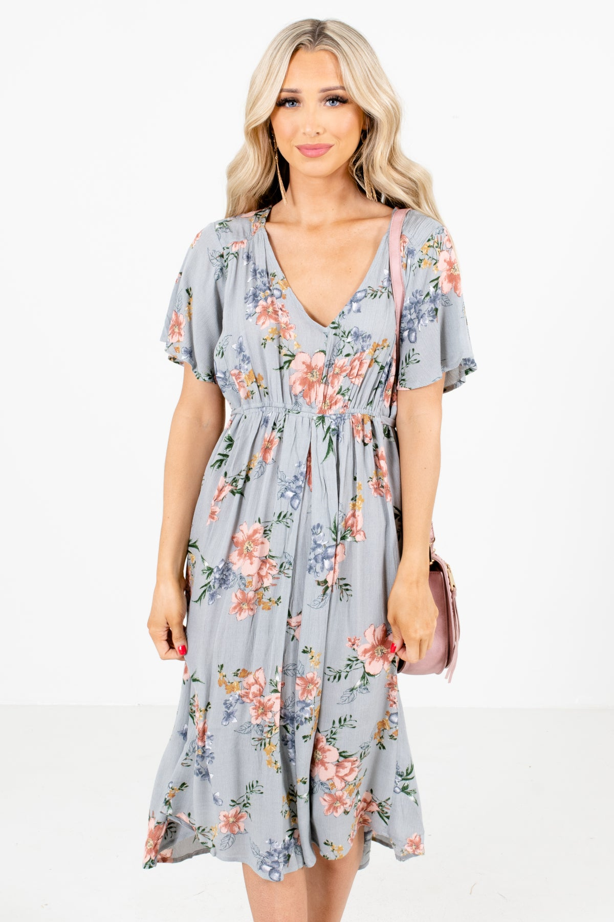 Sage Green Multicolored Floral Patterned Boutique Midi Dresses for Women