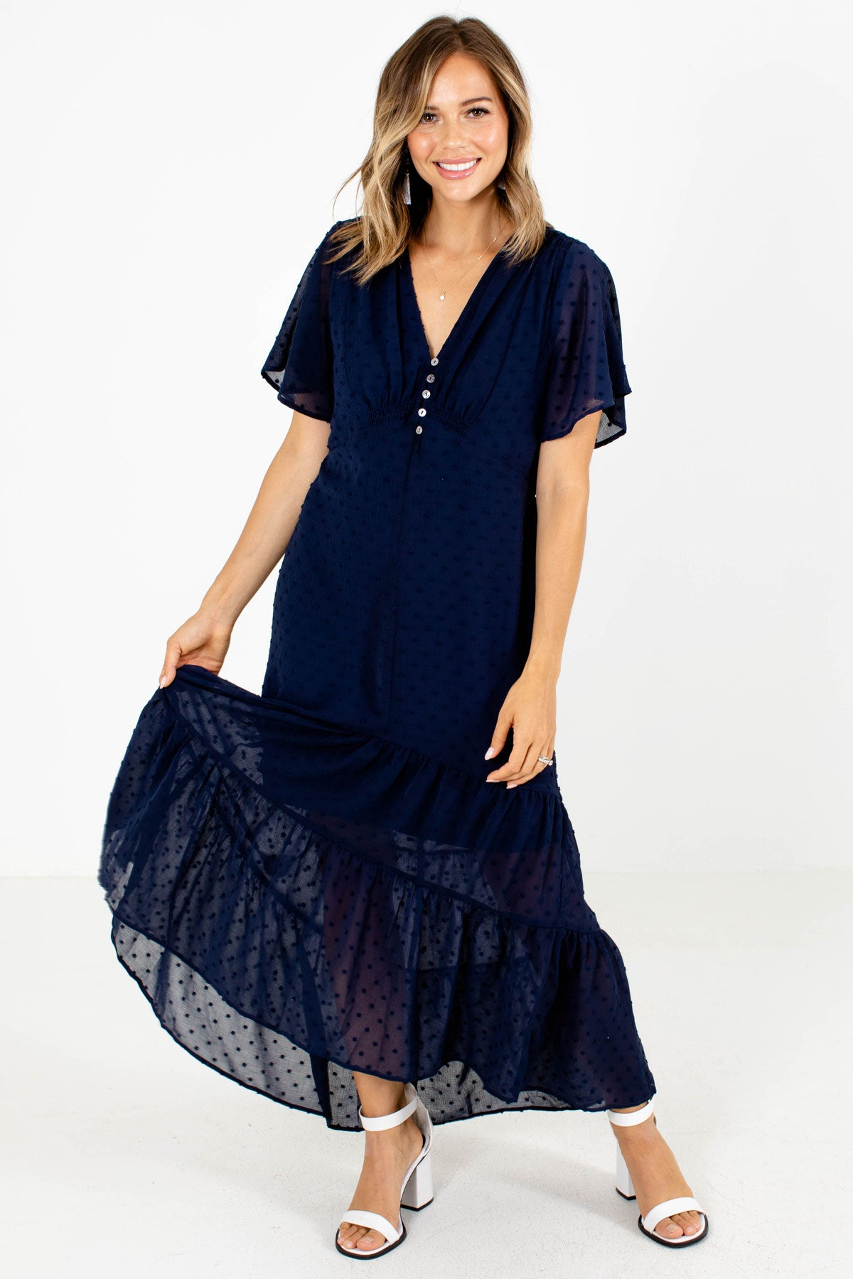 Navy Blue Swiss Dot Boutique Maxi Dresses for Women