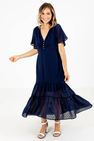 Women's Navy Ruffle Accented Boutique Maxi Dress
