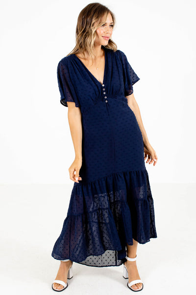 Navy Blue Cute and Comfortable Boutique Maxi Dresses for Women