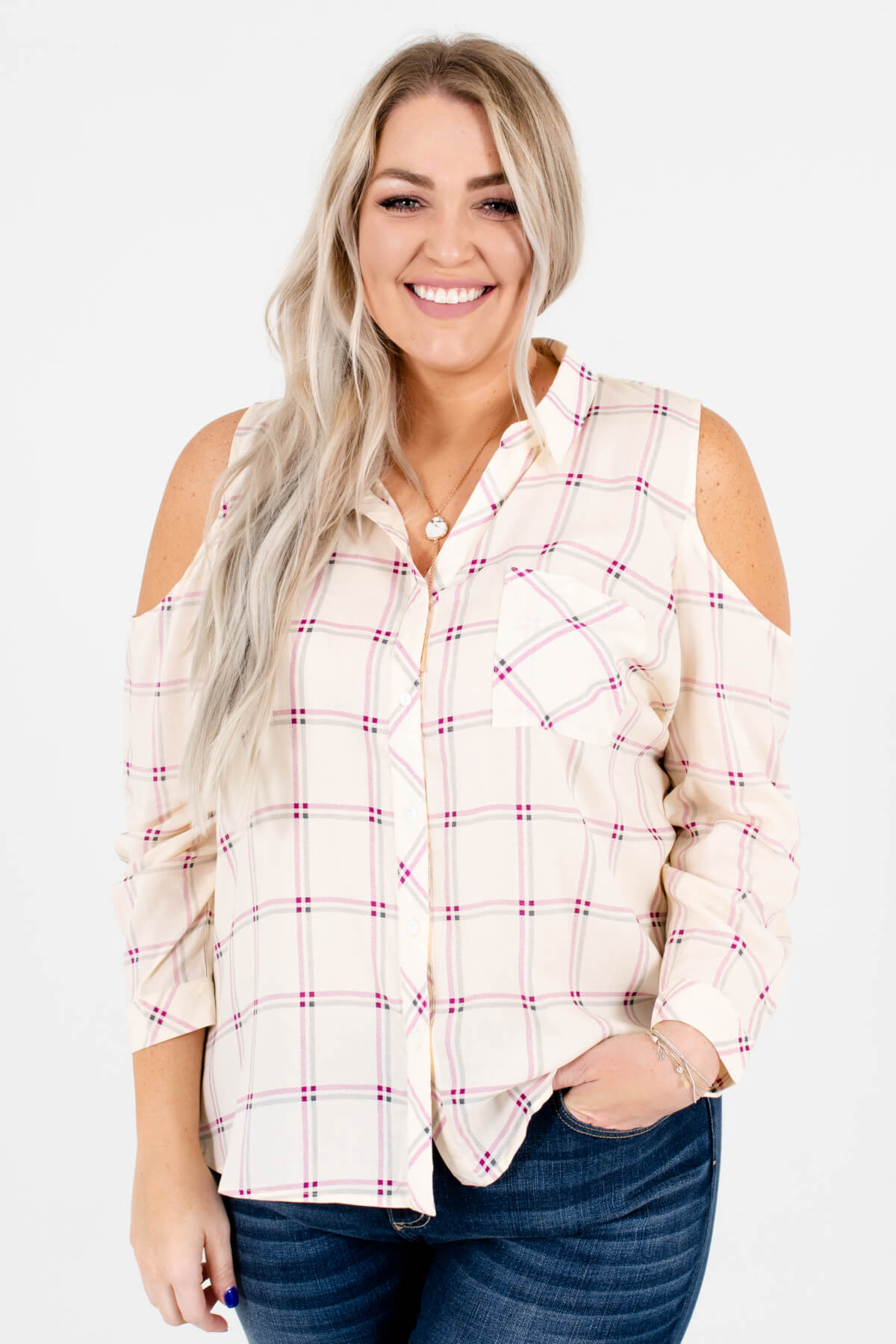 Cream Purple and Slate Plaid Patterned Plus Size Boutique Tops for Women
