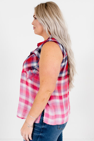 Red Navy White Plaid Tank Tops Plus Size Boutique 4th of July Outfits