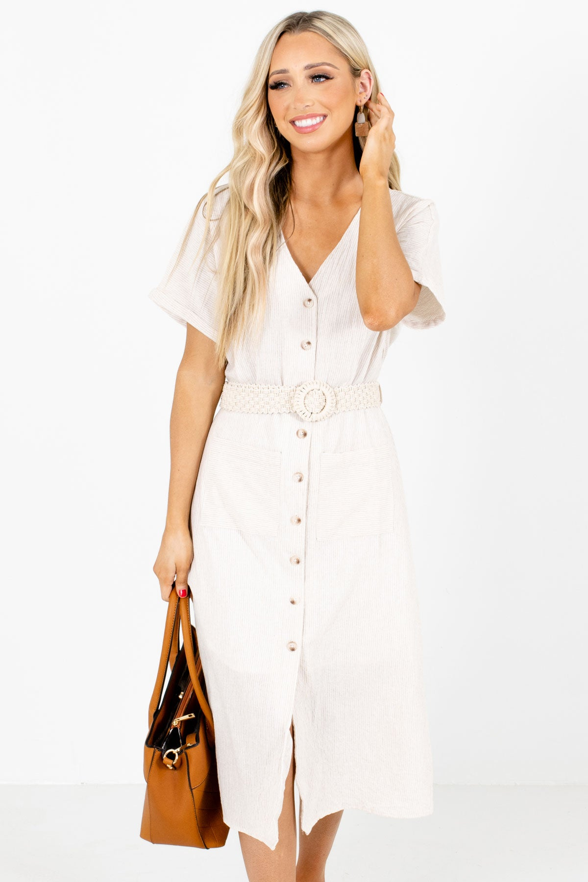 Beige Button-Up Front Boutique Midi Dresses for Women