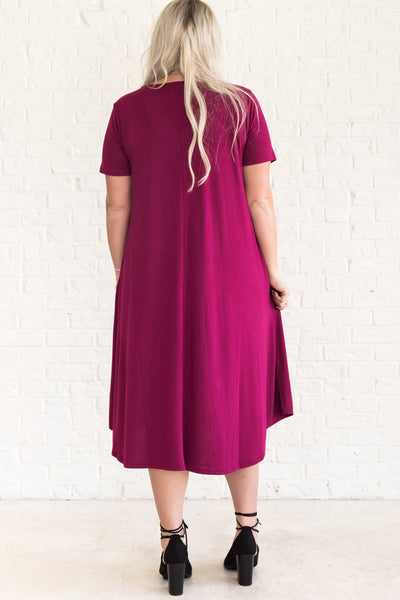 Fuchsia Wine Pink Maternity Dresses in Curvy Plus Sizes